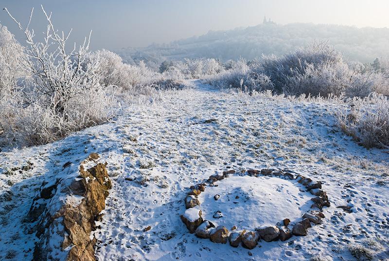 Wygasłe ognisko zimą, Kielce.