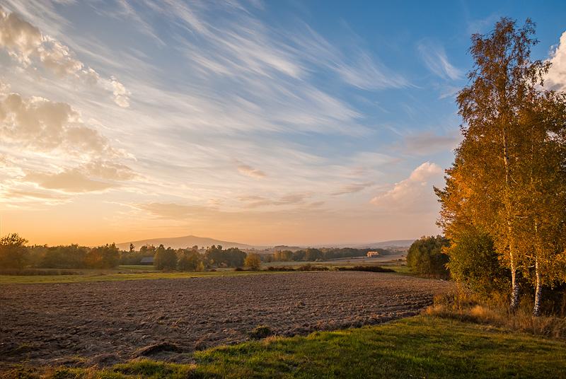 Pomiędzy Starym Skoszynem, a Starym Kuninem - Świętokrzyski krajobraz jesiennym wieczorem.