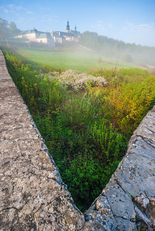 Widok na ogród klasztorny na Karczówce we mgle.